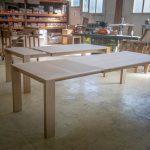Tables Brume dans l'atelier à La Romagne