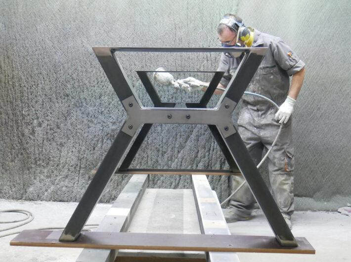 Table ATELIER sur-mesure chêne et pied métal